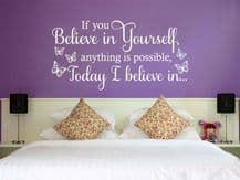 """Wall Quote """"If you believe in yourself"""" Motivating Sticker Decal Decor Transfer"""